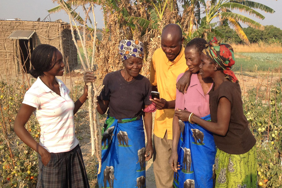 Photo of farmers in Zambia using mobile technology.