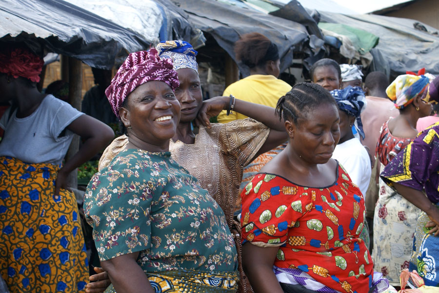 Photo of African women at a local market.