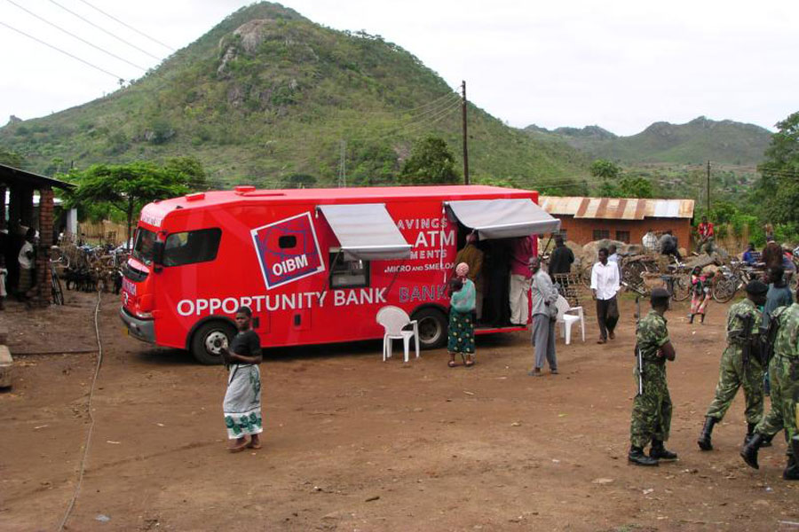 Photo of a mobile truck operating as an opportunity bank.