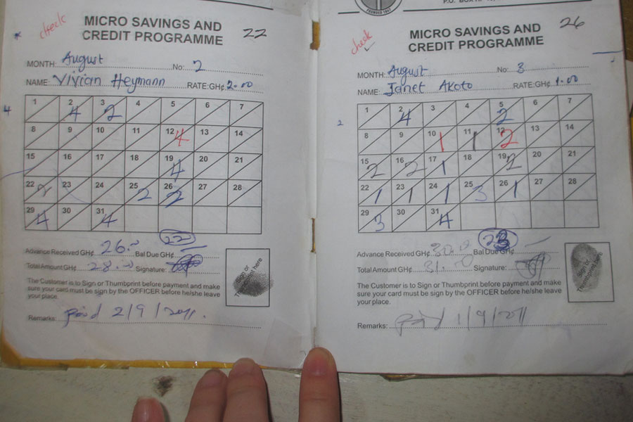 Photo of a micro savings credit program schedule book.