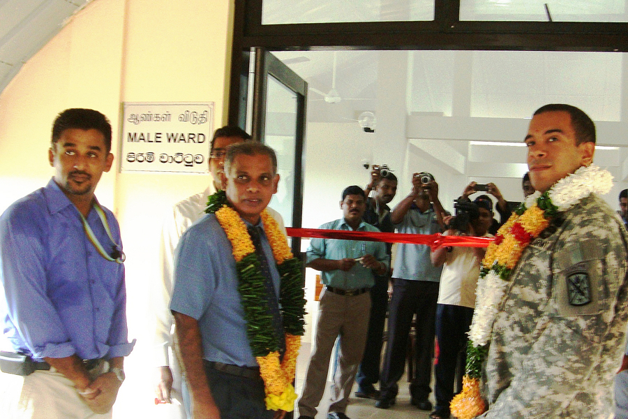 Photograph of the hand over ceremony at a three-ward medical complex in Chenkalady, Batticaloa District
