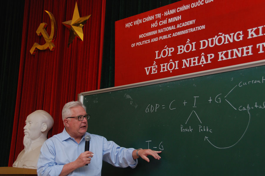 Photo of James riedel, teaching at the Ho Chi Minh Academy