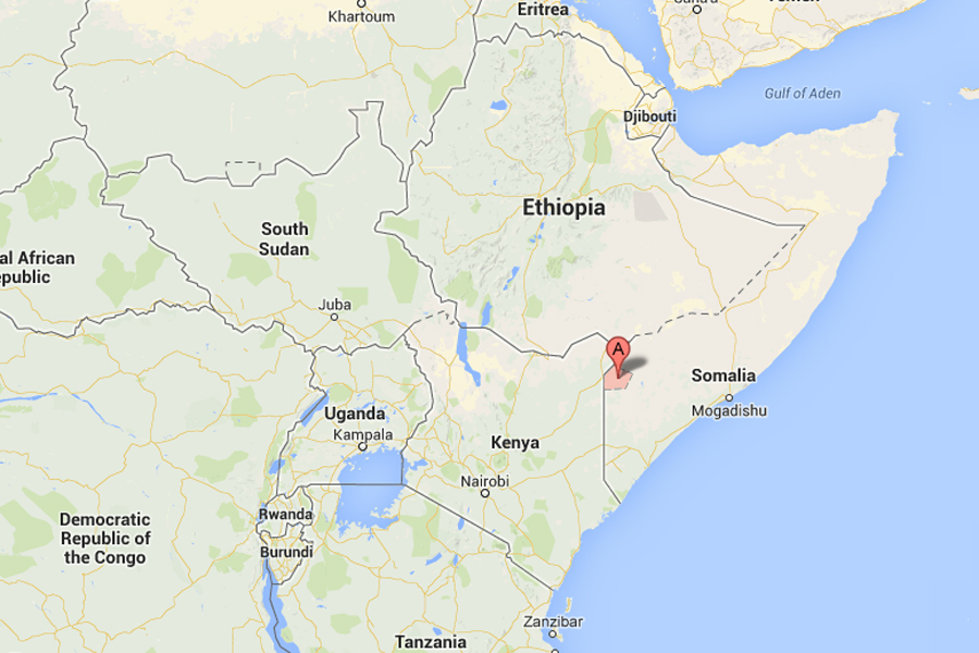 Map showing the location of El Wak in Somalia.